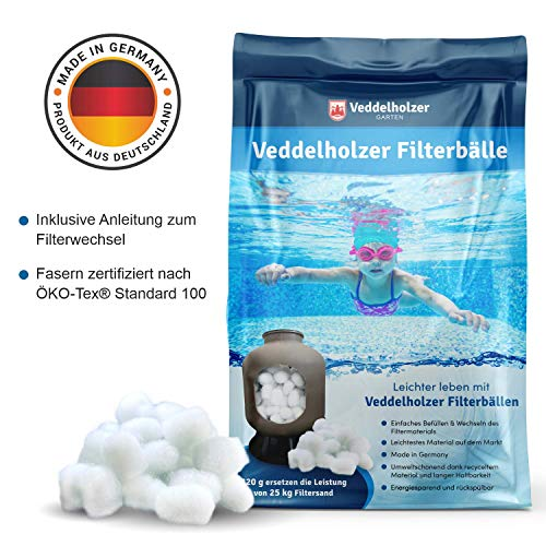Veddelholzer Pool Filterbälle 320g für Leistung von 25kg Filtersand/Quarzsand, Made in Germany, Poolzubehör Poolreiniger für Sandfilteranlagen, Einsparung von Flockungsmittel, Für Salzwasser geeignet