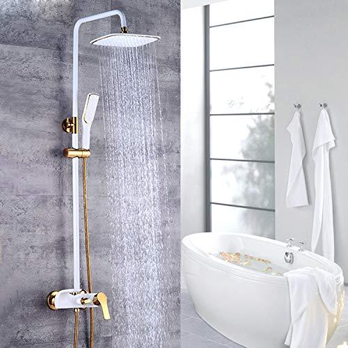 QJUZO Columna de Ducha baño 3 Funciones Chorros Agua con Bandeja Baño Gancho Altura Ajustable Aireador ABS Desmontable Juegos Grifería para Bañera y Ducha Blanca