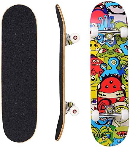 ZEH Komplett Skateboards for Anfänger Komplett Skateboards for Teens Anfänger Mädchen Jungen Kinder Erwachsene, Ahornholz Skateboard31 X 8