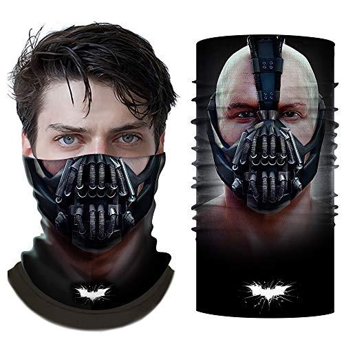 Chiefstore Bane Maske Bandanas 3D-gedruckte Sturmhaube FaceScarf Neck Gaiter UV-Schutz Staub Wind Kopfbedeckungen Männer Frauen Cosplay zum Angeln Wandern Motorrad Radfahren