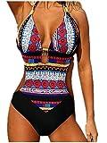 Traje de baño entero de mujer Trikini traje de playa piscina Sexy Bohemian de encaje Bikini Swimsuit One Piece Coordinati Beachwear rojo XXL