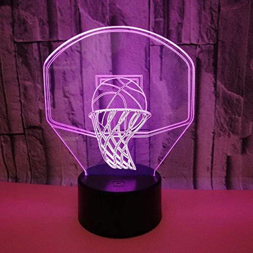 HYY-YY LED colorido gradientes de baloncesto aro 3D estéreo remoto USB lámpara de noche táctil creativa decoración escritorio cumpleaños 20 * 13 cm simple romántico