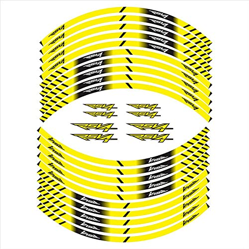 Etiquetas de motocicleta Pegatinas reflectantes Pegatinas de Hub de ruedas Película es adecuada para Aprilia RSV4 (Color : Yellow)