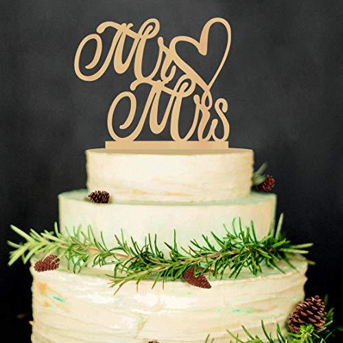 guantongda Praktische 1 Stks Houten Bruiloft Taart Topper - Gepersonaliseerd met Liefde Hart - De heer en mevrouw voor Home Decoratie