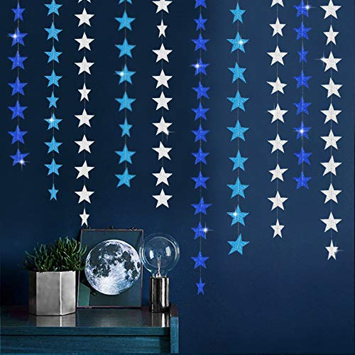 52 Feet Silver and Blue Glitter Star Paper Garland kit Party Decorations Kit Star Bunting Banner Hanging Blue Silver Star Decorations for Baby Shower Christmas Birthday Wedding,Holiday Summer Party