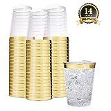 Clear Plastic Disposable Party Cups (100 Count) 14 Oz Gold Rim Cups - Fancy Reusable Plastic Tumblers, Gold, 14 Ounce