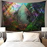 Psychedelic Forest Tapestry Trippy Tree Tapestries Colorful Starry Night Wall Hanging For Living Room Bedroom Dorm Decor