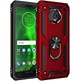 Dionsibei Military Grade Drop Impact for Motorola Moto G6 Case 5.7 inch 360 Metal Rotating Ring Kickstand Holder Magnetic Car Mount Armor Heavy Duty Shockproof Cover for Moto G6 Phone Case (Red)