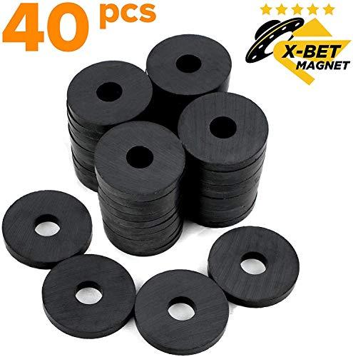 Magnete mit Loch - 3,1 cm - Kleine Magnete Stark - Starke Runde Magnete - Magnete für Magnettafel - Mini Magnete - Magnete Kühlschrank Schwarz - Industrielle Magnete für DIY und Project - 40 Stück