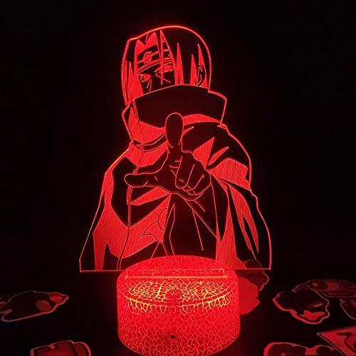 Lámpara de ilusión 3D Luz de noche Led Naruto Itachi Figura de Anime Regalo de cumpleaños creativo para amigo Lava Manga Decoración periférica para niños Niños Niñas