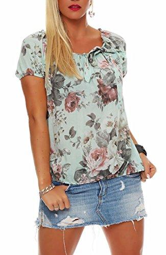 Malito Damen Blusenshirt mit Blumen Print | Oberteil mit Schleife | Hemdbluse - Tunika - modern 3443 (Mint)