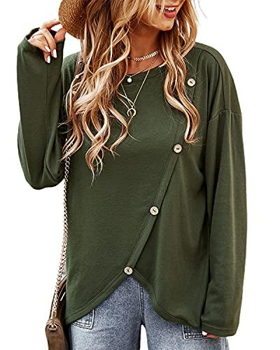 datasy damska koszulka z długim rękawem, górna część z listwą guzikową, bluza oversize, damska koszulka z długim rękawem, na zimę, jesień, zielony, S