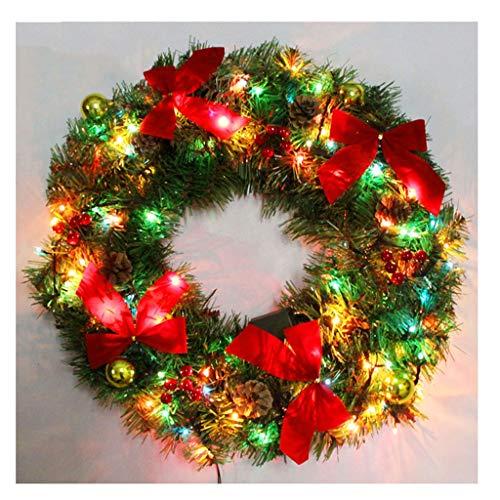 XIANWEI Corona de Navidad Navidad 30CM Plus Luces Decorativas Garland Rojo del Arco de la Baya Amarillo Anti-caída de la Bola Adecuado for su Centro Comercial Casa Decoración