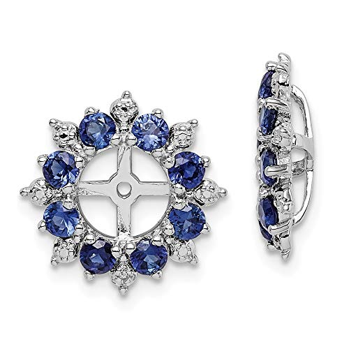 925 Sterling Silver Diamond Created Sapphire Earrings Jacket Birthstone September Fine Jewelry For Women Gifts For Her