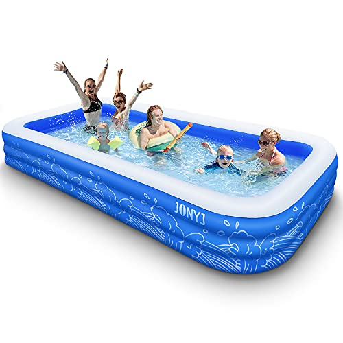 """JONYJ Inflatable Pool, 150'' x 72'' x 22"""" Family Full-Sized Inflatable Swimming Pool, Blow Up Pool for Kids, Adults, Toddlers, Oversize Lounge Kiddie Pools for Outdoor, Garden, Backyard"""