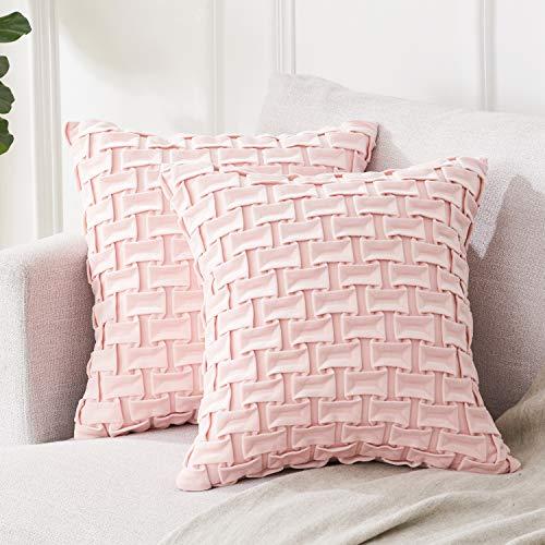 Topfinel Kissenbezüge 50x50 cm aus Samt Warm Einfarbig Luxus-Serie Kissenhüllen mit Multi-Plissee-Design für Sofa Auto Terrasse Zierkissenbezüge 2er Set Rosa