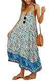 Angashion Women's Dresses Floral Adjustable Spaghetti Strap V Neck Boho Long Maxi Dress Summer Beach Flowy Ethnic Sundress 2142 Yellow Medium