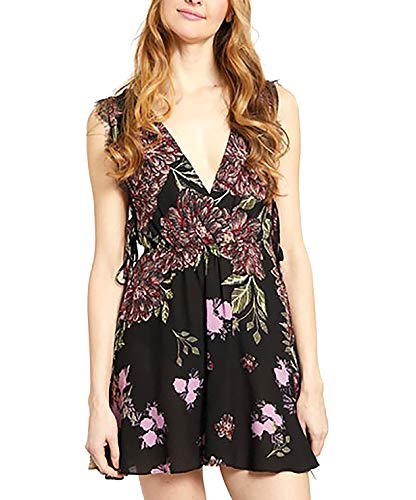 Free People | Printed Black Slip Dress | Black Combo | S