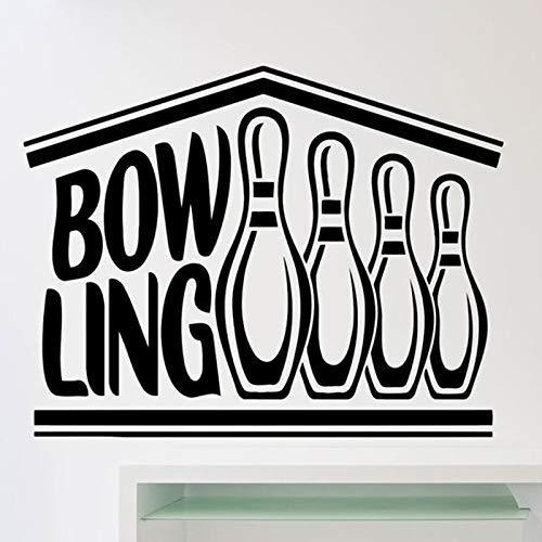 Bowling Club Logo Wandtattoos Unterhaltung Freizeit Sport Dekoration Türen Und Fenster Vinyl Aufkleber Kreative Wort Tapete 42X54Cm
