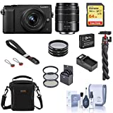 Panasonic Lumix DMC-GX85 Mirrorless Camera, Black, with 12-32mm and 45-150mm Lens Bundle with Bag, 64GB SD Card, Wrist Strap, Tripod, Filter Kit, Extra Battery and Accessories