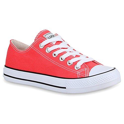 stiefelparadies Damen Sneakers Turn Freizeit Low Sneaker Übergrößen Prints Glitzer Denim Schuhe 27920 Coral Ambler 40 Flandell