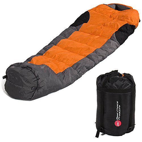 Best Choice Products 5F/-15C Portable Mummy Sleeping Bag for Outdoor Camping Hiking w/Carrying Case- Orange/Gray