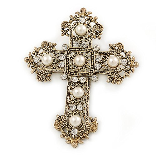 Avalaya Victorian Style Clear Crystal, Glass Pearl Filigree Large Cross Brooch in Antique Gold Tone - 85mm L