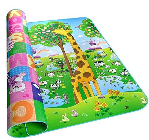 Alfombra infantil de juegos impermeable grande de doble cara, para interior y exterior, 200x 180x 0,5cm