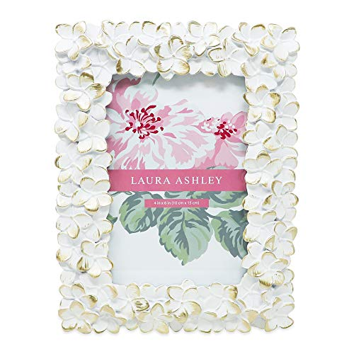 Laura Ashley 4x6 White & Gold Flower Textured Hand-Crafted Resin Picture Frame w/Easel & Hook for Tabletop & Wall Display, Decorative Floral Design Home Décor, Photo Gallery, Art...