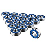 TRIXES 16 x 608 RS Skateboard Bearings - Frictionless ABEC 9 Roller Bearings for Skate Boards...