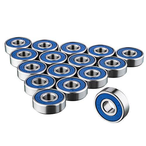 TRIXES 16 x 608RS Reibungsfreie Kugellager ABEC 9 für Skateboard, Roller, Inline Skates