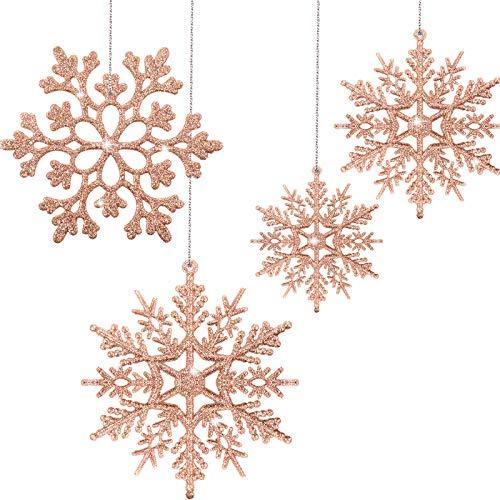 50 Pezzi Ornamenti di Fiocco di Neve Glitterato in Oro Rosa di Natale Decorazioni per Alberi in Plastica con Fiocco di Neve Decorazioni Pendenti con Fiocchi di Neve Invernali per Albero di Natale