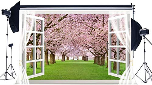 NEW 3D Cherry Blossom Backdrop 7X5FT Vinyl Green Grass Meadow Backdrops Wood Window White Curtain Interior Decoration Wallapper Photography Background for Lover Wedding Photo Studio Props 851