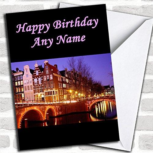 Amsterdam Aangepaste Verjaardag Groeten Kaart- Verjaardagskaarten/Landen & Plaatsen Kaarten