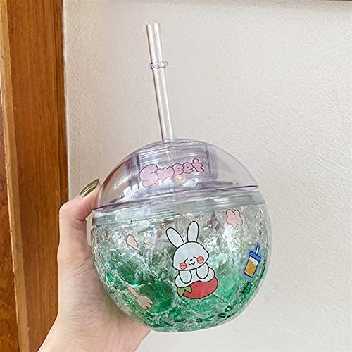 400 ml Botella de Agua de Hielo Redonda con batería de Paja para niñas niñas de plástico Jugo Reutilizable de Fresa Peach Cup Cup Chenhuanbakeyji (Capacity : 400ml, Color : Blue)