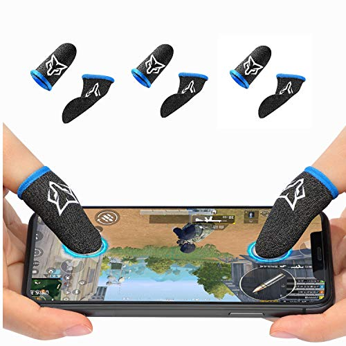 Juego de 6 fundas de dedos para mando de juego móvil [6 paquetes], antisudor, transpirable, para juegos de teléfonos móviles, para...
