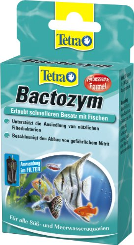 Tetra Bactozym (voor onmiddellijke biologische activiteit in filter en aquarium, vereenvoudigt het inrijden van nieuwe zwembaden, bevordert de afbraak van organische verontreinigingen), 10 capsules