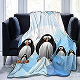MODORSAN Penguin Antarctica Manta Estampada en Hielo,Ligera,60'x50',Manta de Microfibra súper Suave,Manta para Cama,Manta para TV,Comodidad y Cuidado,Regalo