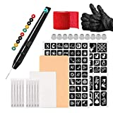 ATOMUS Hand Poke and Stick Tattoo Kit 2pcs Plantilla de tatuaje Patrón pequeño 10pcs M Tazas de tinta de tatuaje Hand Poke Pen Agujas de tatuaje 5pcs 3RL 5RL con vendas rojas