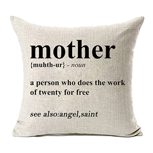 MFGNEH Mother Definition- A Person Who Does The Work of Twenty for Free Cotton Linen Pillow Covers, Throw Pillow Case Cushion Cover 18 x 18 Inches,Mom Gifts
