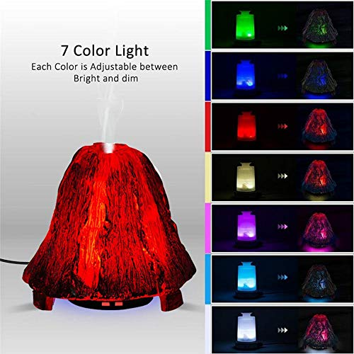 MMRLY Aromatherapie Essential Oil Diffuser 3D Ultraschall-Humidifier Volcano Type Therapeutic Machine LED 7 Color Gradient Night Light