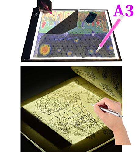 A3 LED tracing Light Box, Factory Sale LED Tracing Light Pad Ultra-Thin Stepless Dimmable Brightness Tatoo Pad Animation Tracer Board, Sketching, Designing,X-ray View, Diamond Painting