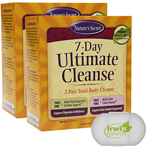Nature's Secret 7 Day Ultimate Cleanse - 2 Part Total Body Cleanse Promotes Healthy Digestion & Elimination with Detox Blend & Colon Cleanse, 2 Packs of 72 Tablets, with a Pill Case