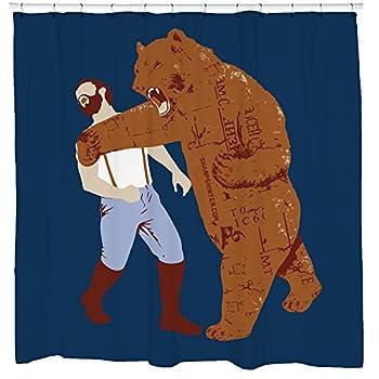 Sharp Shirter Mens Shower Curtain Set for Bathroom Funny Meme Art Bear Punching Man Blue Polyester Fabric 71x74