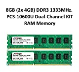 unimega 8GB (2X 4GB) Dual Channel KIT DDR3 1333MHz PC3-10600U 240PIN 1,5V PC RAM Speicher Memory
