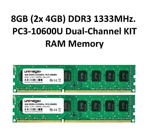 unimega 8 GB (2 x 4 GB) Dual Channel Kit DDR3 1333 MHz PC3 – 10600U, 240pin 1,5 V Non-ECC PC Módulo de Memoria