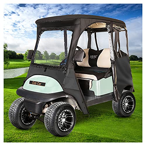 10L0L Golf Cart Deluxe Enclosure for 2 Passenger Club Car Precedent,600D Waterproof 4-Sided Protection Golf Cart Cover Driving Enclosure,Roof up to 59' L(Black)