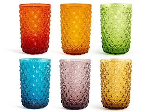 H&H 835520 Murano Set 6 Bicchieri, Vetro, Colori Assortiti, cl46