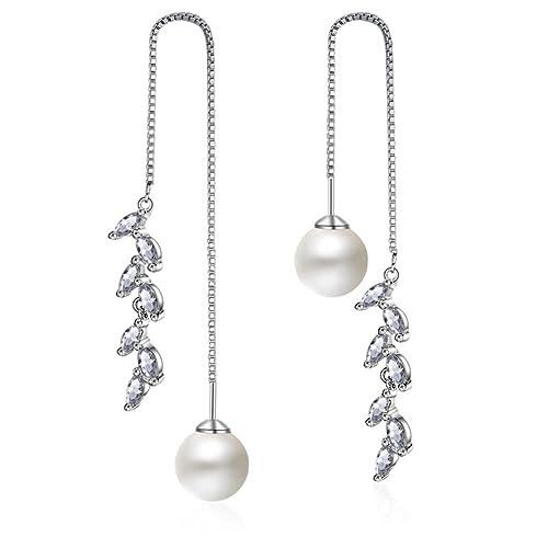 76937a963 DESIGN 925 Sterling Silver Pearl Long Dangle Drop Earring for Women Crystal  Moon Star