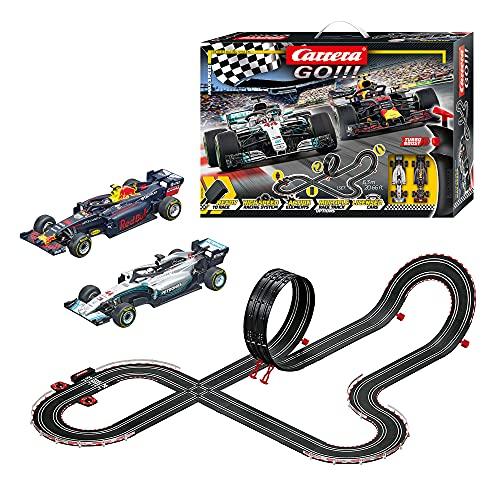 Carrera GO!!! Max Speed Rennstrecken-Set | 6,3m elektrische Rennbahn mit Mercedes-AMG F1 W09 EQ Power+ & Red Bull Racing RB14| mit 2 Handreglern & Streckenteilen |für Kinder ab 6 Jahren & Erwachsene